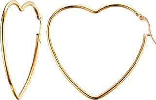 HUANIAN Women's Stainless Steel Gold Plated Heart Shape Hinged Large Hoop Earring,Anti-allergy