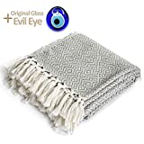 Luxury Throw Blanket with Fringe 100% Cotton Soft and Lightweight |40'x71'| for Chair Sofa Couch Bed Cover Fit Boho decor Farmhouse Rustic Home Cozy Knit Blankets For Summer (Chevron Gray)+ Evil Eye