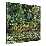 PICANOVA – Claude Monet – The Japanese Footbridge80x80cm – Cuadro sobre Lienzo – Impresión En Lienzo Montado sobre Marco De Madera (2cm) – Disponible En Varios Tamaños – Colección Arte Clásico