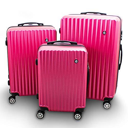 Barut Kofferset 3-teilig Reisekoffer Trolley Hartschalenkoffer ABS Teleskopgriff Modell General (Pink)