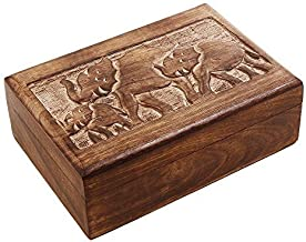 Store Indya Wooden Trinket Box with Hand Carved Elephant Motif