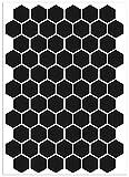 Biomar Labs® Reflektoren Reflektierende Hexagon Aufkleber Reflexfolie Schwarz Stickers Set (71 Stück) Selbstklebende Reflektierende Reflektor Sicherheitsaufkleber D 52