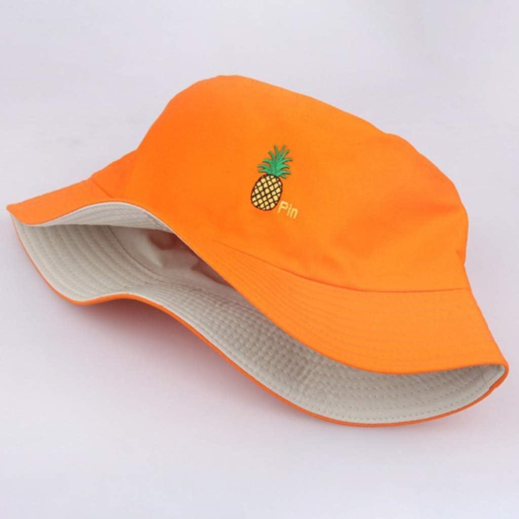 BELTI Gorra de Pescador de ala Ancha Unisex con Bordado de pi/ña y Sombrero de Cubo Reversible