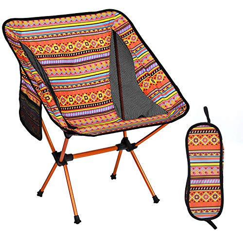 Ultralight Portable Folding Camping Chairs,Portable Compact for Outdoor Camp, Travel, Beach, Picnic, Festival, Hiking, Lightweight Backpacking (Orange)