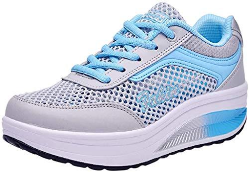 Fenverk Damen Abnehmen Walkingschuhe & Turnschuhe Fitness Keile Plattform Schuhe Sneakers Chic Plateau Schnürer Sneakers Walkmaxx Schuhe Shape-up Fitnessschuhe (Blau,40 EU)