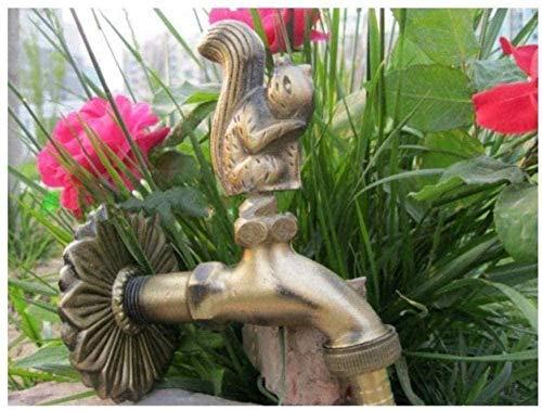 Grifo de jardín Kit de grifos de exterior Grifos de jardín Grifos de exterior Grifo decorativo de exterior Forma de animal rural Bibcock de jardín con ardilla de bronce antiguo para grifos de lavadora