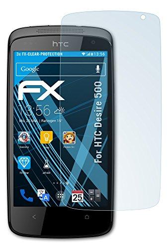 atFolix Schutzfolie kompatibel mit HTC Desire 500 Folie, ultraklare FX Bildschirmschutzfolie (3X)