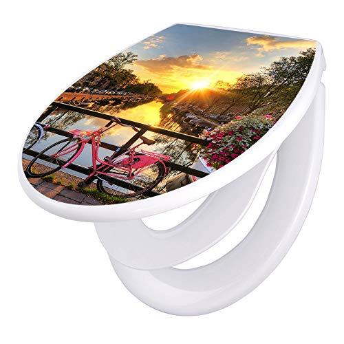 banjado Familien WC Sitz mit Absenkautomatik | Toilettendeckel mit Kindersitz | Klodeckel weiß | Toilettensitz mit Soft Close | 44 x 37 cm WC Deckel mit Motiv Amsterdam Mit Rad