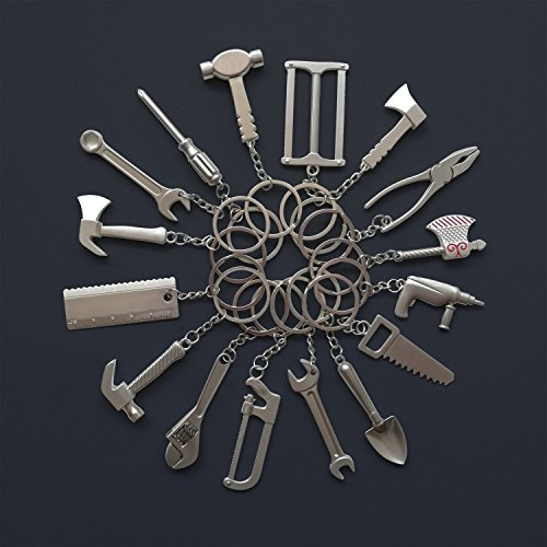 Goldengulf 16pcs/Pack Pretend Play Mini Construction Hardware Tool Keychain Toy Gift Assorted Designs DIY Creative Tool Car Keyring