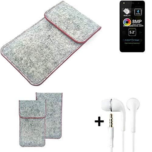 K-S-Trade® Handy Schutz Hülle Für Allview A9 Lite Schutzhülle Handyhülle Filztasche Pouch Tasche Case Sleeve Filzhülle Hellgrau Roter Rand + Kopfhörer