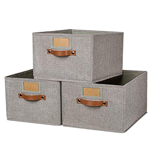 OLLVIA Large Fabric Storage Bins 3 Pack, 15.7x11.8x8.3 Foldable Storage Baskets with Labels, Decorative Storage Bins for Shelves, Rectangle Closet Baskets, Organizing Nursery for Home|Office