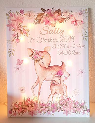 Muurschildering poster wandlamp set van 3 met de naam kinderkamer babykamer foto's | meisje decoratie | Decoratie lichtfoto lamp | bosdieren REH