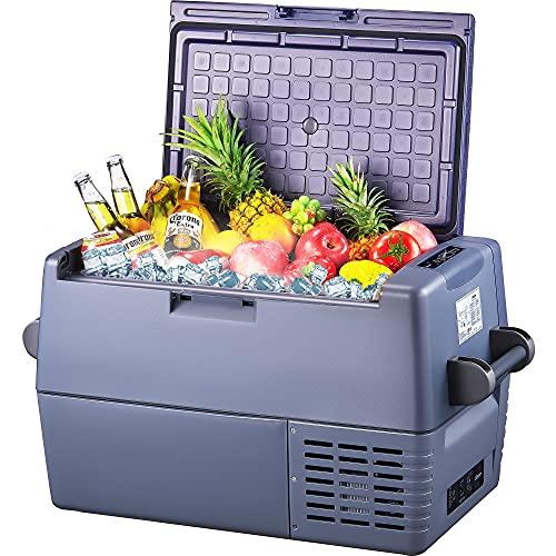 DECEN Tragbare Kühlbox 60L, Auto-Kühlschrank, Abnehmbare Zwei-Wege-Tür, -20 ℃ ~ 10 ℃ große Kapazität Gefrierbox Kühlschrank Kompressor Kühlbox, für Auto, LKW, Reisemobil, Camping