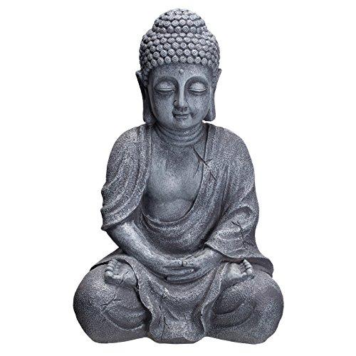 Willken Arts Buddha B4018S Steingrau Figur 37cm Statue groß Büste Gartendekoration aus Kunststein Polyresin