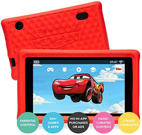 Pebble Gear Disney Pixar Cars kids tablet 7' pad with child-friendly bumpercase / kid-proof case, full parental control, kids bluelight filter, 500+ Games, Apps and E-Books, Wi-Fi, 16 GB, HD Display