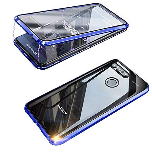 Handyhülle für Huawei Honor View 20 Hülle Magnetische Adsorption Technologie Metallrahmen 360 Grad Schutzhülle Vorne und Hinten Transparent Vollbildabdeckung Gehärtetem Glas Schutz Flip Cover,Blau