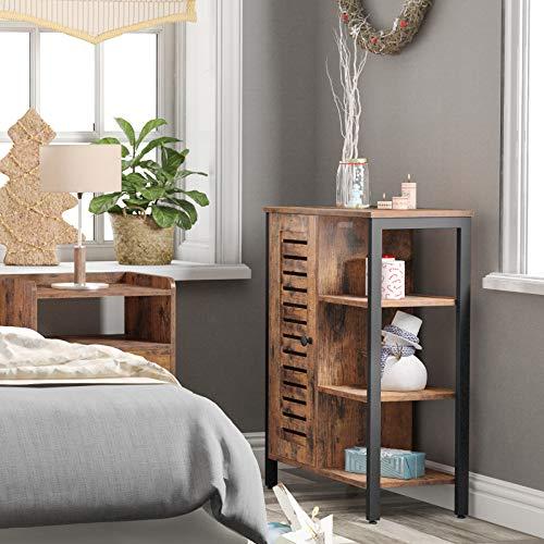 HOOBRO Storage Cabinet, 2 Hidden Adjustable Shelves, 3 Open Shelves, Floor Standing Cabinet, Side Cabinet, Multifunctional in Living Room, Hallway, Kitchen, Entryway, Rustic Brown BF29CW01