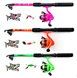 My-Fishing-World Fladen - Juego de cañas de Pescar para niños, Incluye Cinta para Llaves Gratis, Verde