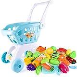 infantil supermercado carrito de compras chica de la carretilla juguete de la cocina pretender juego juguete GiftGroceries Juguetes de simulación Casa fruta del corte de la torta de juguete para niños