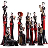 SHUJIA Creative Chino Clásico Cheongsam señoras Adornos Hogar Salón Muebles Joyería Artesanía Estilo Chino Belleza Personajes, Resina, Chinese Ten Piece Set