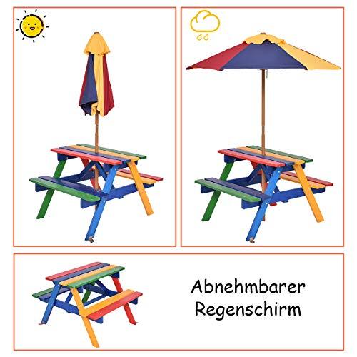 COSTWAY Sitzgruppe Holz Kinder Sitzgarnitur Kindermöbel mit Sonnenschirm Kindertisch Picknickbank 4 Sitze verfügbar