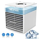 Air Cooler Portable Mini Air Conditioner, 4 in 1 Evaporative Coolers, Humidifier and Purifier, 7 Color LED Lights Mobile Desk Cooling Fan for Office Home Outdoor