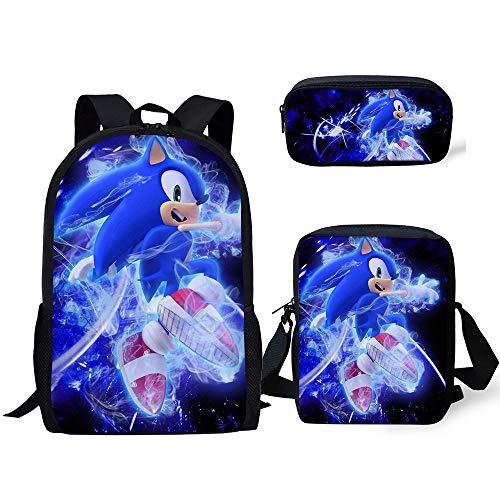 Vercico Sonic - Zaino per bambini, astuccio per matite, set da 3, astuccio Sonic per la scuola per bambini e bambine