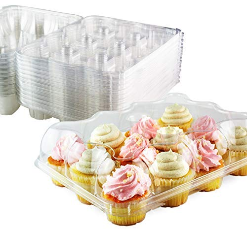Chefible Premium 12 Plastic Disposable Cupcake Container Cupcake Box High Dome, 25 Pack