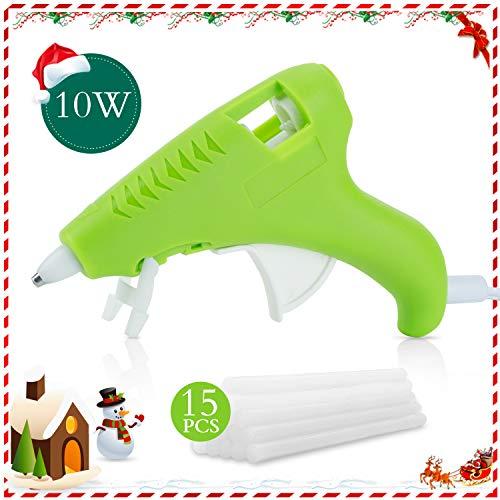 FL Mini Hot Glue Gun, Hot Glue Gun for Kids, 10W Mini Size High Temperature Hot Melt Glue Gun Kit with 15 pcs Glue Sticks, Packaging, DIY, Arts & Craft, Repairing and More, Green (FQ-005)