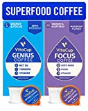 Vitacup Genius & Mushroom Focus Blend Coffee 32 Pod Bundle | Energy & Focus |Superfood & Vitamins Infused | Variety Pack of (2) 16 Count Single Serve Recyclable Pods Compatible with K-Cup Brewers