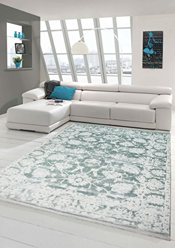 Merinos Vintage Teppich modern Wohnzimmerteppich Designteppich mit Fransen in Türkis Größe 80x150 cm