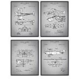 Early Aviation Airplanes Patent Art Prints, Vintage Wall Art Poster Set, Chic Rustic Home Decor for Living Room, Family Room, Man Cave, Bedroom, Gift for Pilots, Flight Attendants, 8x10 Photo Unframed