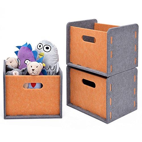 3 Pack Natural Wool Design Nursery Organizer, by StorageWorks,Soft Durable Storage Box Toy Storage Home Décor