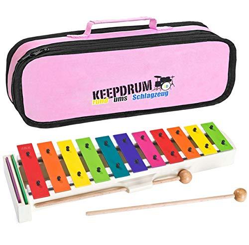 Sonor BWG Boomwhackers Kinder Glockenspiel + keepdrum MB01PK Tasche Bag Pink
