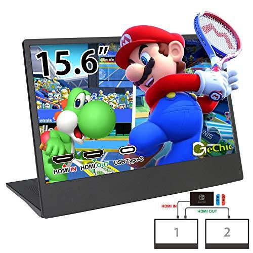GeChic Monitor portátil para gaming de 15,6 pulgadas On-Lap M505E-R4 con HDMI IN/HDMI Out/USB Type-C compatible con Switch/PS4/XBOX ONE/MacBook/teléfono móvil VESA 100.
