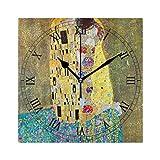 グスタフのクリムトによるキス スクエア壁時計 掛け時計 時計 掛時計 壁掛け時計 置き時計 置き掛け兼用 連続秒針 おしゃれ インテリア