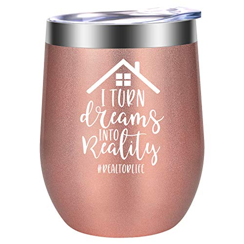 Realtor Gifts for Women, Real Estate Agent Gifts, Closing Gifts for Realtors - Funny Birthday, Christmas, Thank You Gifts for Realtor, Broker - I Turn Dreams into Reality - LEADO Realtor Wine Tumbler