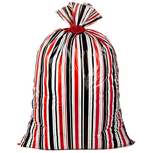 "Hallmark 56"" Oversized All-Occasion Plastic Gift Bag (Red, Silver and Black Stripes, For You) for Christmas, Valentines Day, Birthdays, Father's Day, Baby Showers and Graduations"