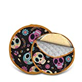 Pack of 2 Tortilla warmer! no more wet & soggy tortillas! Tortilla Pouch Cotton 11'&8'! Tortilla warmer keeping your Mexican table decoration elegant for your Taco Tuesday night… (Black Calaveras)