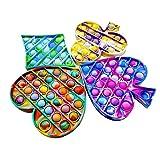 JORUNS Juego de 4 Piezas Pop It Fidget Toy, Juguetes de Silicona sensoriales Poppit Bubble para niños, Adultos para Mejorar el Estado de ánimo, aliviar el estrés y fácil de Jugar
