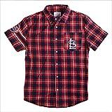 FOCO MLB ST. Louis Cardinals Wordmark Basic Flannel Shirt - Short Sleeve Medium