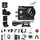 Action Cam 4K Daping Action Kamera Wasserdicht Unterwasserkamera 170° Weitwinkel Action Camera Sports 1080P Full HD Helmkamera mit 2.4G Remote 2 Batterien und Zubehör Kits Schwarz