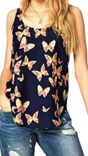 MK988 Women's Casual Sleeveless Butterfly Print Slim Tank Top Cami Blouse Shirt