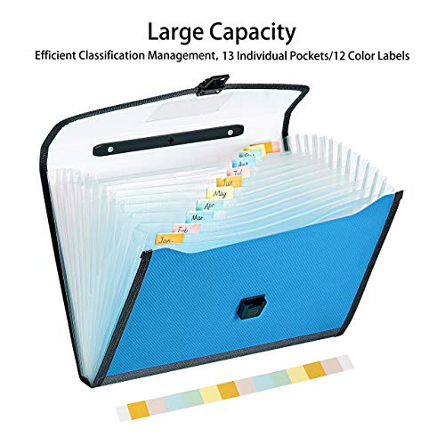 FANWU 13 Pockets Expanding File Folder Accordion File with Handle & Buckle - Letter A4 Paper Size - Expandable Plastic File Folder Monthly Portable Document Organizer for Home School Office (Blue) Photo #7