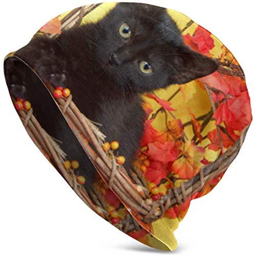 TABUE Gatito Negro difuso en Cesta de Calabaza de Mimbre con Gorro en Y Gorro de Punto Gorro de Calavera Gorro de Punto Deportivo Gorro de Punto