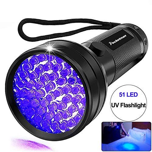 Linterna UV Luz negra, 51 LED 395 nM Detector de luz ultravioleta ultravioleta para orina de perro, manchas de mascotas y chinches de cama