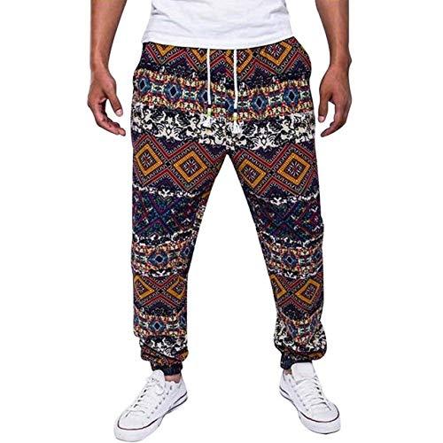 Loeay Pantalones con Estampado Floral para Hombre Pantalones Casuales de Lino de algodón Pantalones Sueltos Hombre Verano Homme Pantalones de chándal de Moda Casual Tallas Grandes Floral XXL