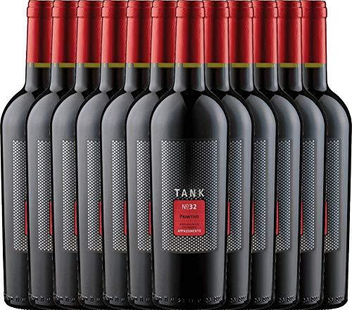 VINELLO 12er Weinpaket Primitivo - TANK No 32 Primitivo Appassimento 2020 - Cantine Minini mit Weinausgießer   halbtrockener Rotwein   italienischer Wein aus Apulien   12 x 0,75 Liter