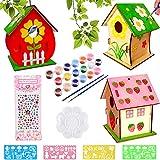 Maison D'oiseau Bricolage Kit pour Enfant, DIY Maison Oiseau Graffiti Peinte en Bois avec 12 Pigments de Couleur, 2 Stylos, 1 Palette pour Jardin, Maison, Ecole pour Garçon (3 morceaux de nid d'oiseau