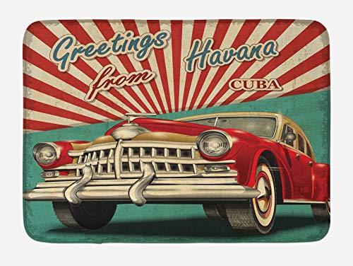 Alfombra de baño Havana, diseño Vintage, clásico Coche Retro, Rojo y Blanco, Media viga, Felpa Alfombrilla de decoración de baño con Respaldo Antideslizante, Verde mar pálido y rubí